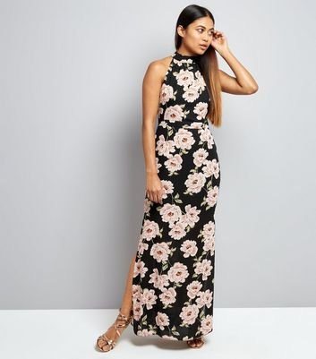 New Look Pink And Black Floral Dress