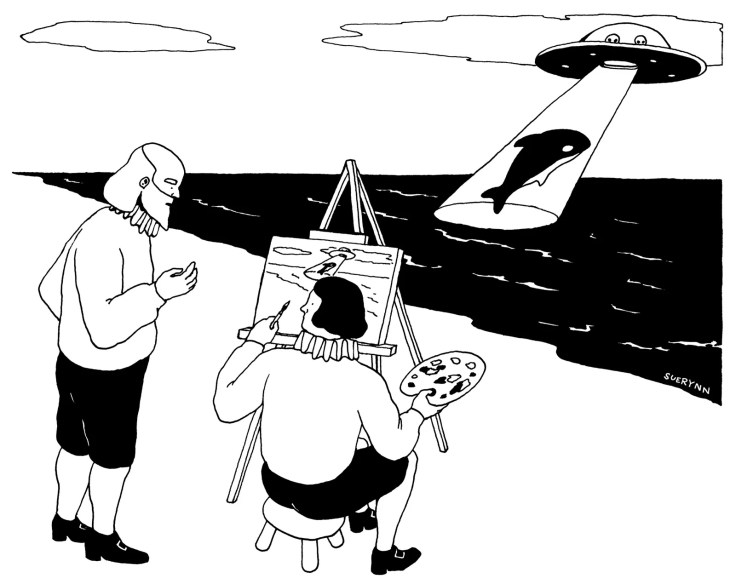 Painter on beach painting a whale getting abducted by a U.F.O.