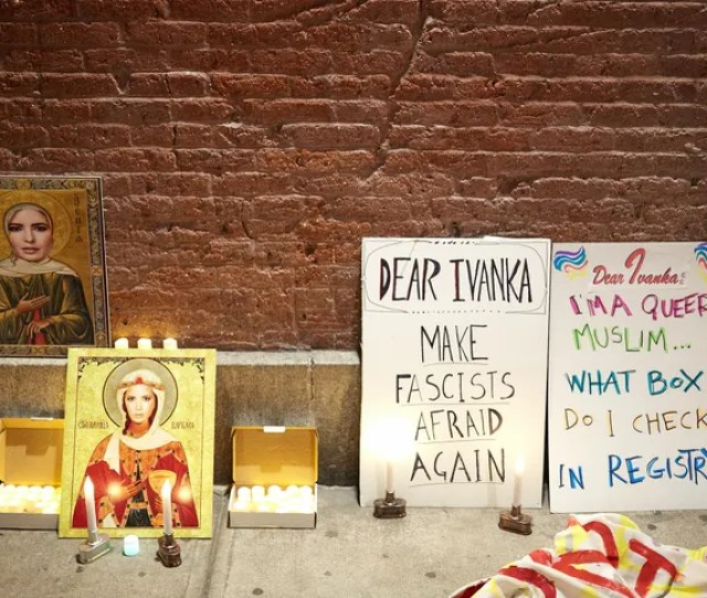 Art World Figures Including The People Behind The New Instagram Account Dear_ivanka Gathered For A Candlelight Vigil In Soho To Appeal To Ivanka Trump