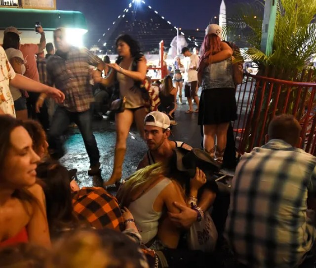People Run For Cover During The Shooting At The Route  Harvest Festival Near The Mandalay Bay Resort And Casino In Las Vegas