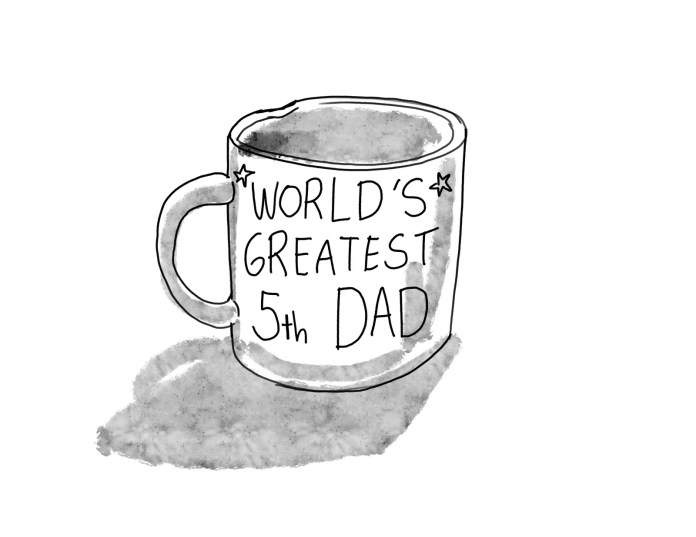 A mug inscribed with World's Greatest 5th Dad.