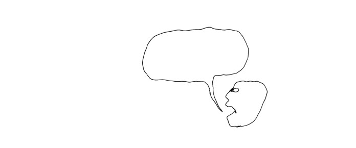Profile of a face with an empty speech bubble.