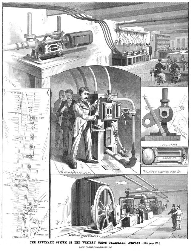 The pneumatic system of the Western Union Telegraph Company from Scientific American February 14 1885.