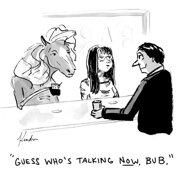 A horse and a woman at a bar.