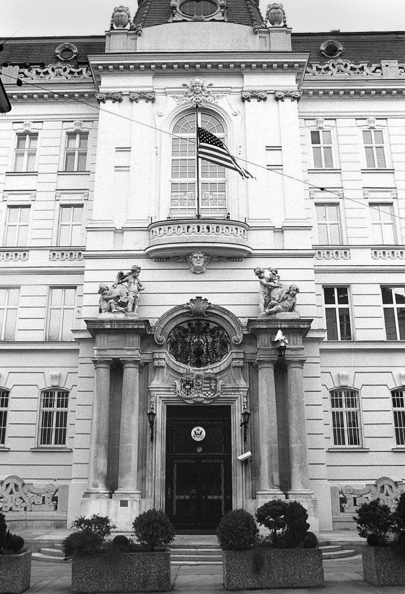 The front door of the United States embassy in Vienna Austria