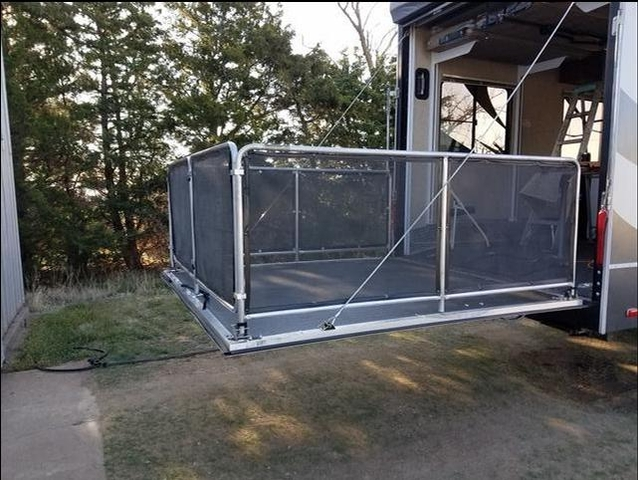 sold ramp door patio party deck railing for rv
