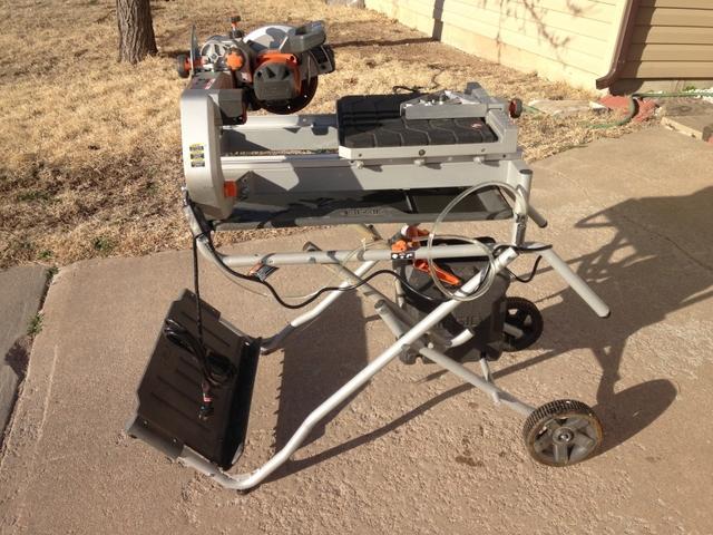sold ridgid 7 job site wet tile saw with laser model r4007