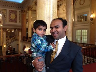 Em Boston Isaac Mota trouxe sua família para Jersey City para o evento.