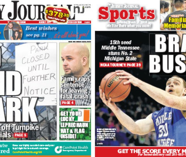 Jersey Journal Front And Back Page News Saturday March