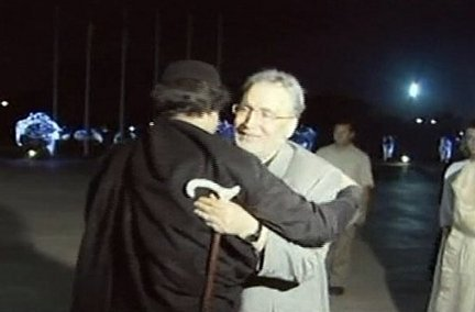 Abdel Baset al-Megrahi, right, who was found guilty of the 1988 Lockerbie bombing, was greeted by Libyan leader Moammar Gadhafi, in Tripoli after his release from prison in August 2009.