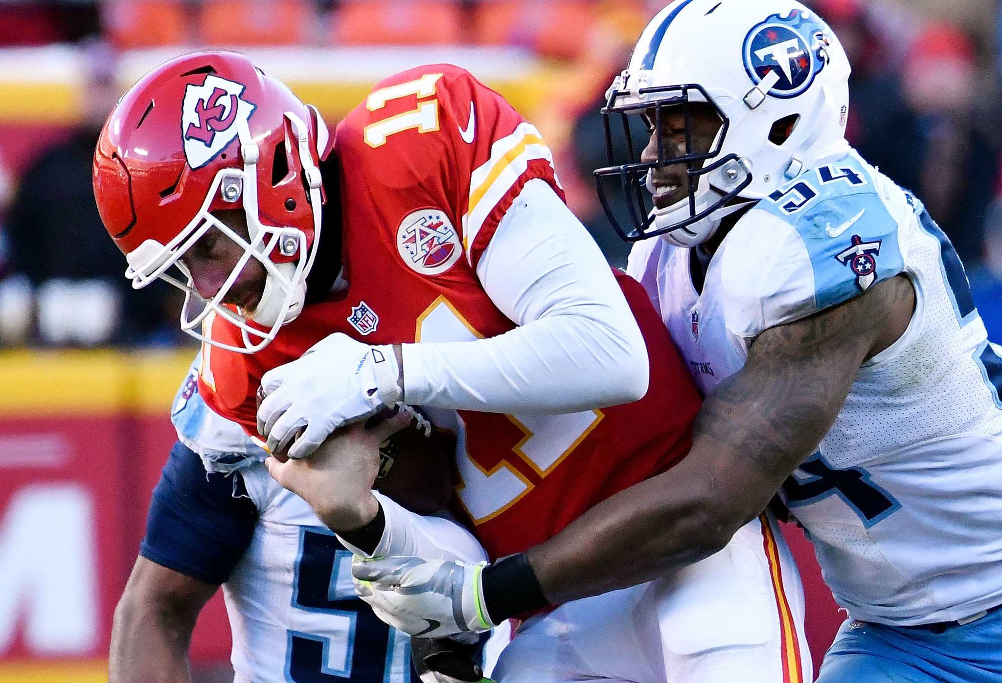 Image result for alex smith sack titans