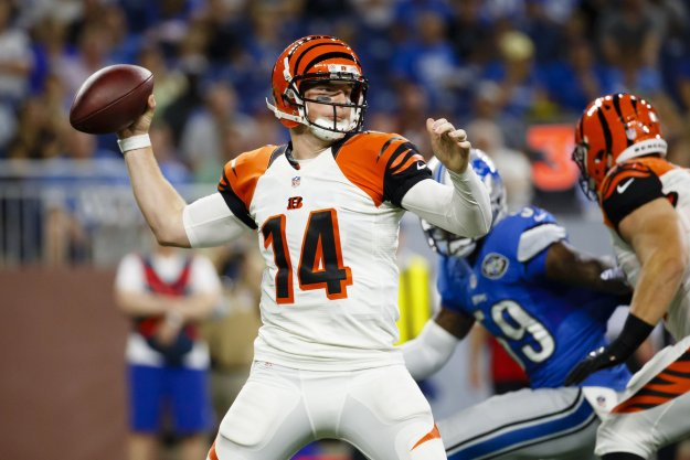 Cincinnati Bengals quarterback Andy Dalton (14) passes against the Detroit Lions during an NFL football game at Ford Field in Detroit, Thursday, Aug. 18, 2016. (Rick Osentoski | AP)