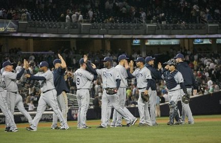 Rays celebrate Yankees