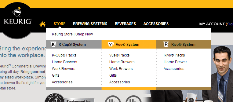 keurig.com mega menus work better than thin drop downs