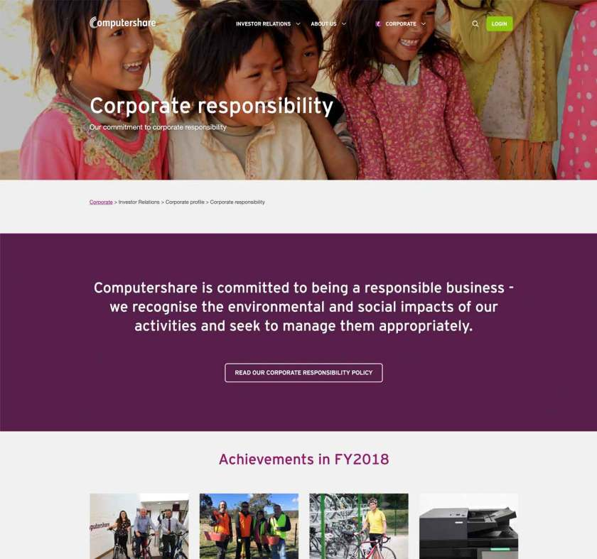 ComputerShare used the term corporate responsibility on their website.
