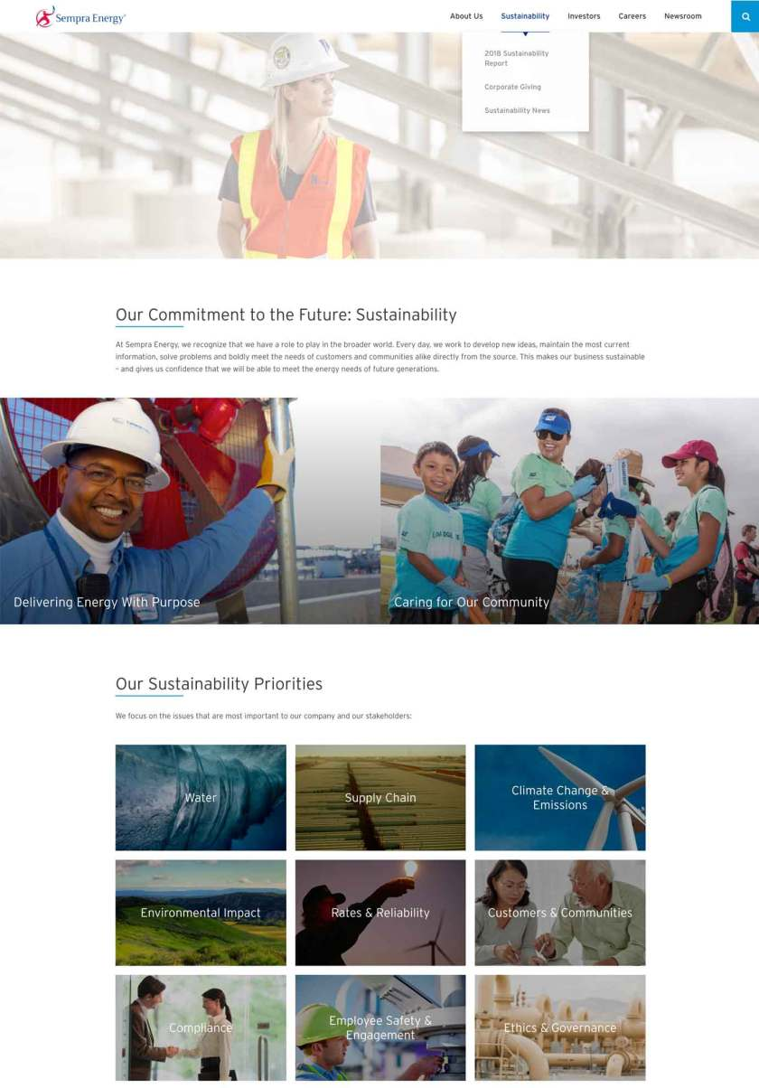 Sempra Energy's sustainability and social-giving.