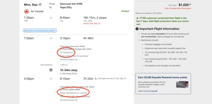 expedia flight search website