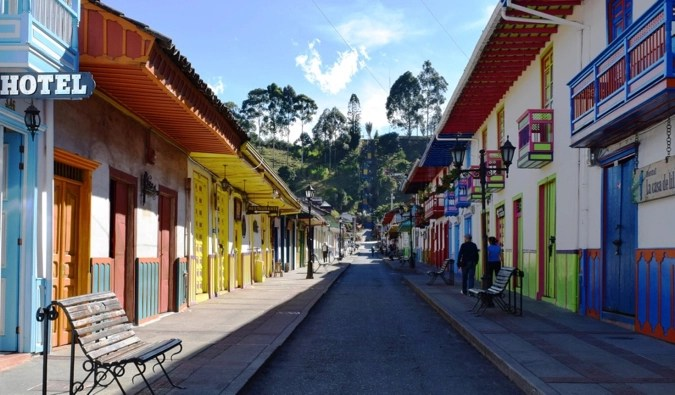 A colorful narrow street in Colombia