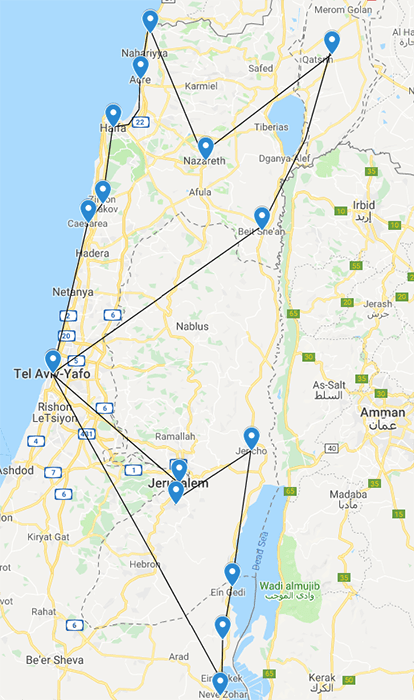 a map for the suggested driving route around Israel