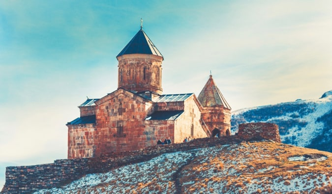 The medieval Gergeti Trinity Church in Georgia