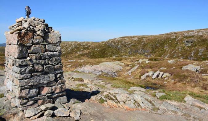 A guide marker on Mount Ulriken in Bergen, Norway