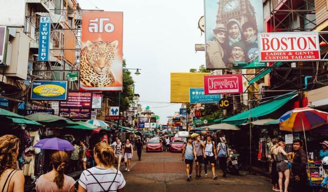 The busy street of Khao San Road in Bangkok, Thailand