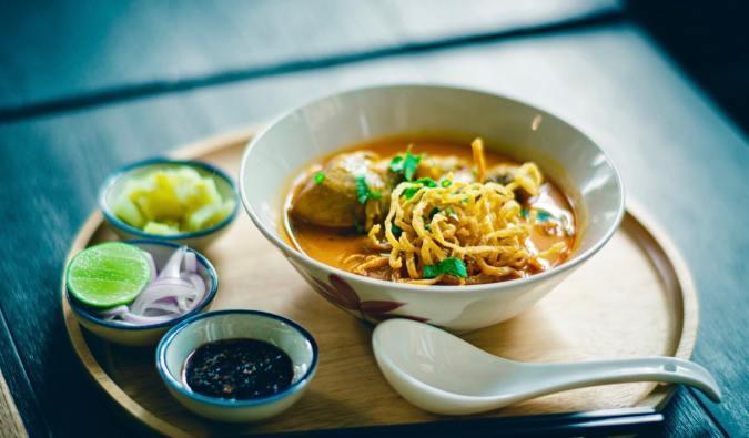 A delicious meal of khao soi in Bangkok, Thailand