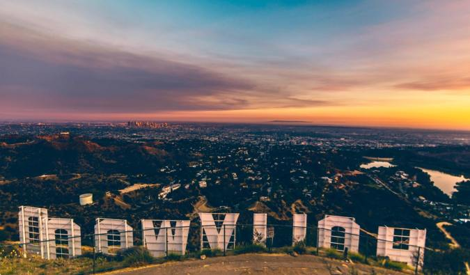 Looking out over Los Angeles from behind the Hollywood sign