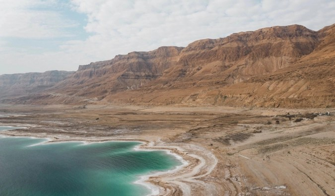 The shore of the Dead Sea in Israel
