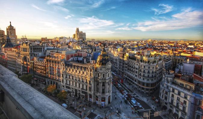 The historic skyline of Madrid, Spain at sunset