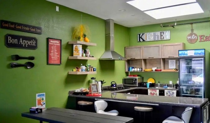 The colorful kitchen of the California Dreams hostel in San Diego, California