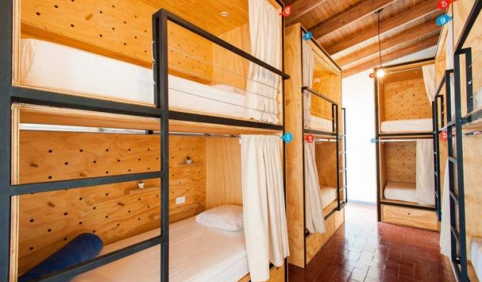 The cozy bunk beds of the Capital Hostel in San José, Costa Rica