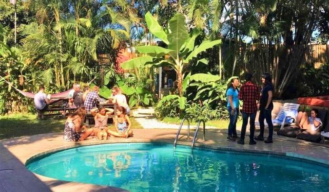 The fun pool area at Costa Rica Backpackers hostel in San José, Costa Rica
