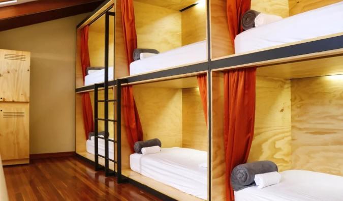The cozy pod beds at Launa Luxury Hostel in San José, Costa Rica