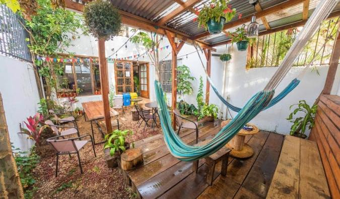 The relaxing patio with hammocks at TripOn Hostel in San José, Costa Rica