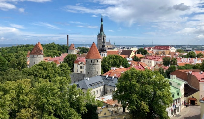 A view of the Old Town in Tallin, Estonia on a bright summer day