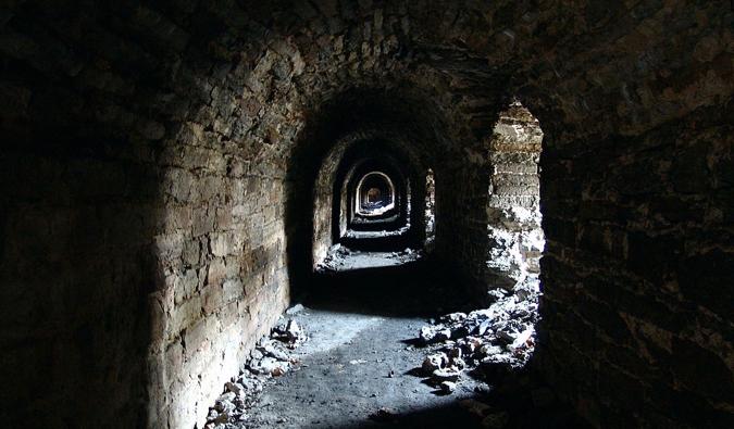 The old, dark Bastion Tunnels in Tallinn, Estonia