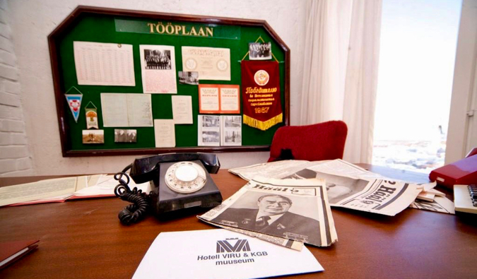 Files on an old desk at the KGB Museum in Tallinn, Estonia