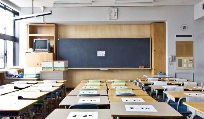 A classroom of empty desk in Japan