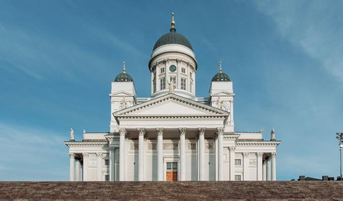 The famous Helsinki Cathedral towering over the city in Helsinki, Finland