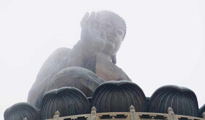 The massive Buddha statue at Ngong Ping 360 in Hong Kong