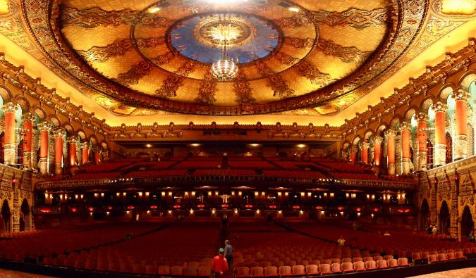 The spacious and ornate interior of the Fox Theatre in Detroit, Michigan