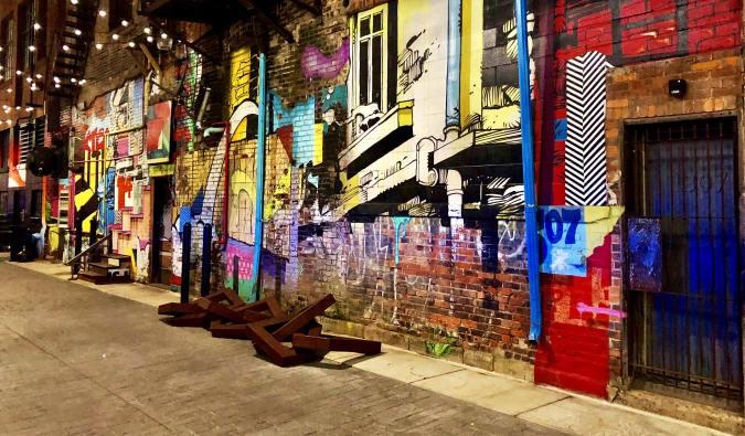 Street art in an alleyway in The Belt in Detroit, Michigan