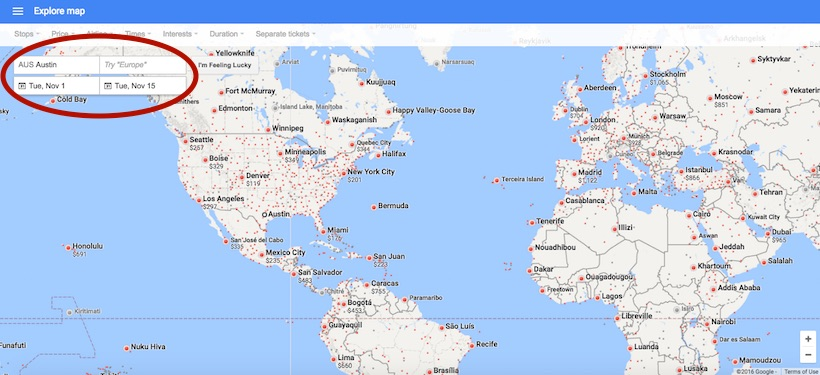 screenshot of Google flights website to find cheap airline tickets