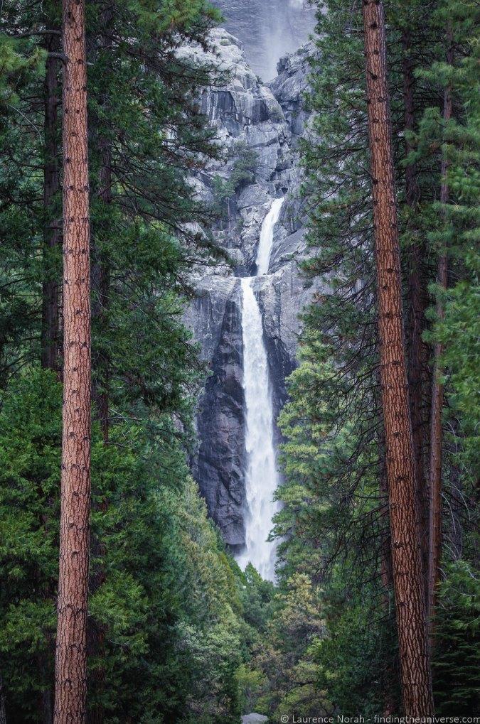 Photo of Lower Yosemite Falls between the trees in Yosemite National Park