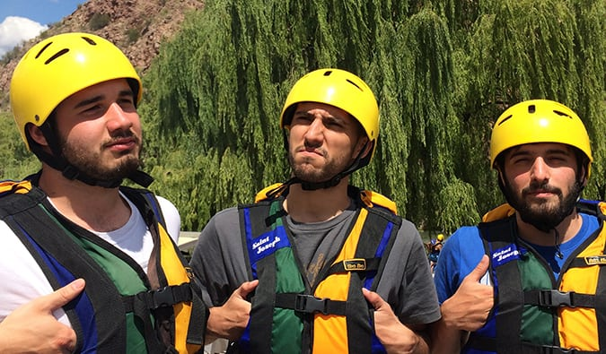 goofing off before rafting