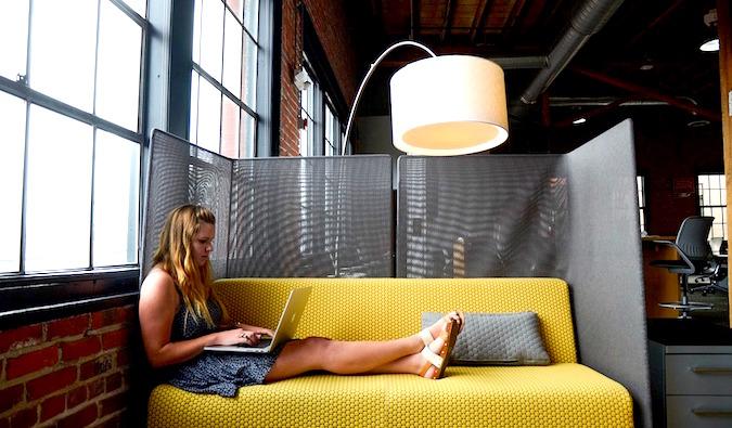 girl doing freelance work