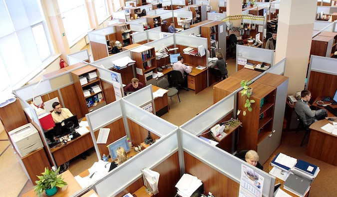 cubicles in an office