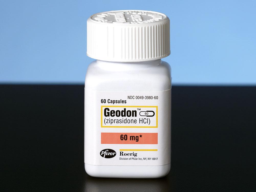 Bottle containing Geodon, an antipsychotic medicine.