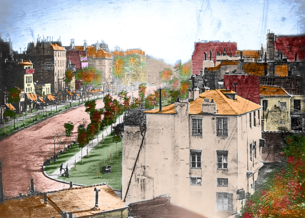 Colorized Boulevard du Temple by Daguerre